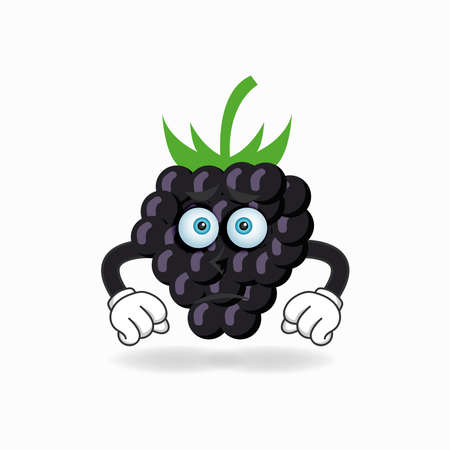 Grape mascot character with sad expression. vector illustration