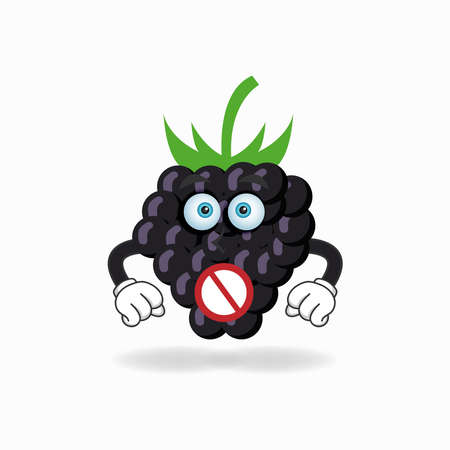 The Grape mascot character with a speechless expression. vector illustration Çizim