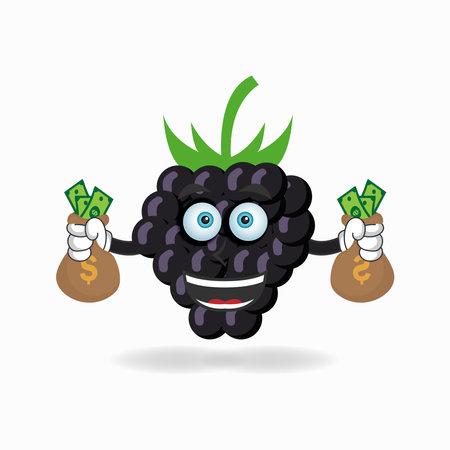 Grape mascot character holding money. vector illustration Çizim