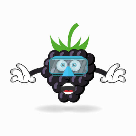 The Grape mascot character is diving. vector illustration Çizim