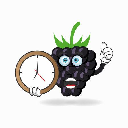 Grape mascot character holding a wall clock. vector illustration