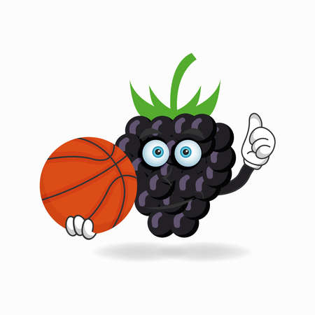 The Grape mascot character becomes a basketball player. vector illustration