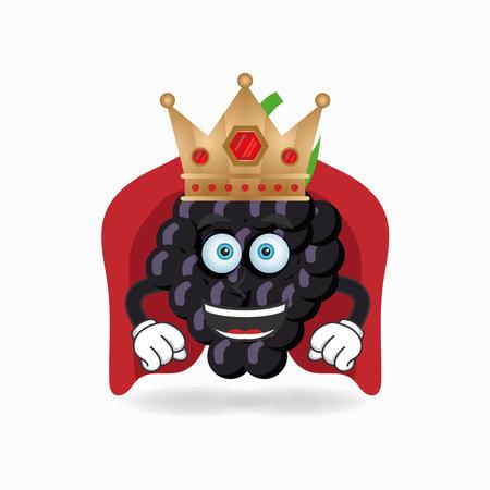 The Grape mascot character becomes a king. vector illustration