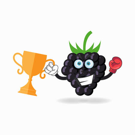 The Grape mascot character wins a boxing trophy. vector illustration