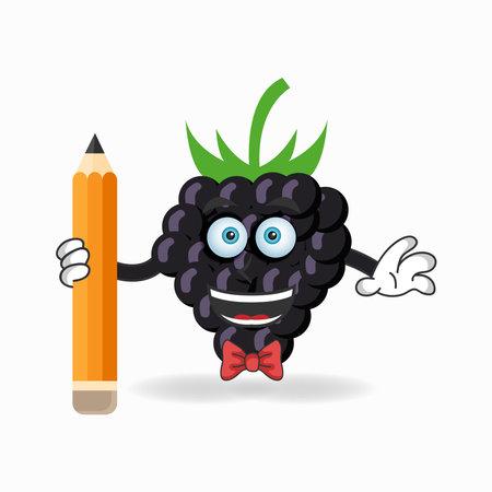 Grape mascot character holding a pencil. vector illustration