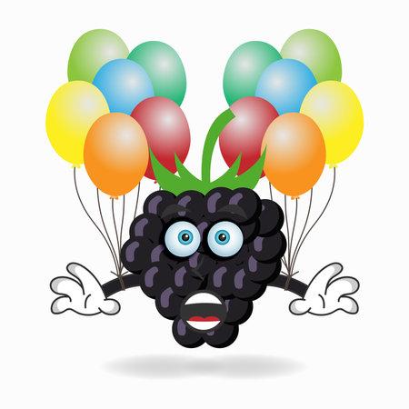 Grape mascot character holding a balloon. vector illustration