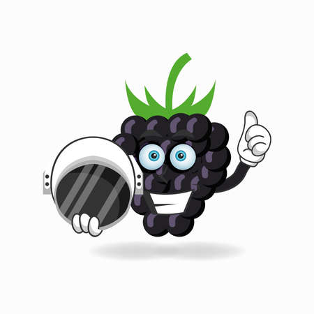 The Grape mascot character becomes an astronaut. vector illustration Çizim