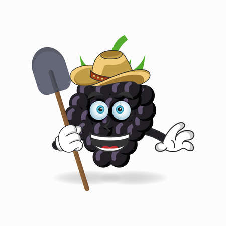 The Grape mascot character becomes a farmer. vector illustration