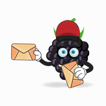 The Grape mascot character becomes a mail deliverer. vector illustration Çizim