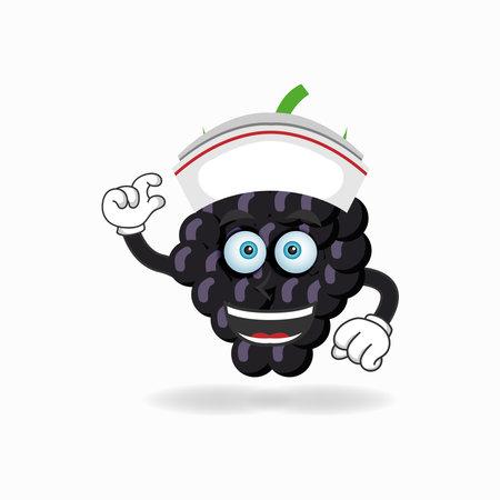 The Grape mascot character becomes a nurse. vector illustration