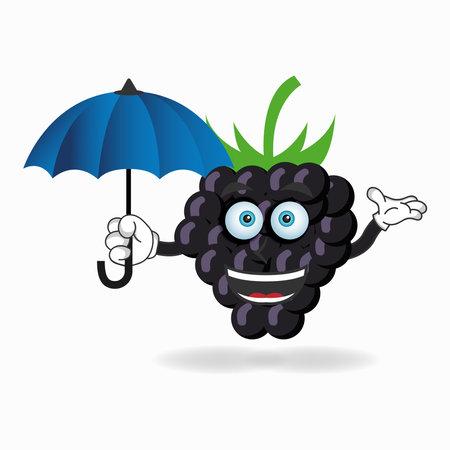Grape mascot character holding an umbrella. vector illustration