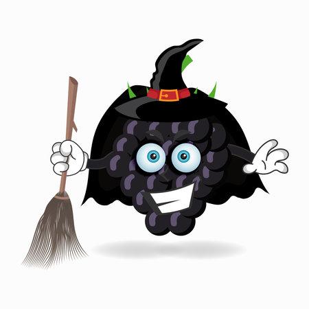 The Grape mascot character becomes a magician. vector illustration