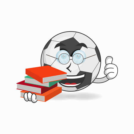 The Soccer Ball mascot character becomes a librarian. vector illustration