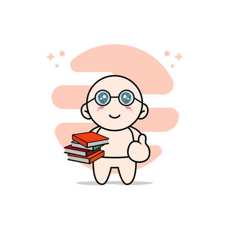 Cute baby character wearing librarian costume. Mascot design concept