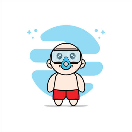 Cute kids character wearing divers costume. Mascot design concept