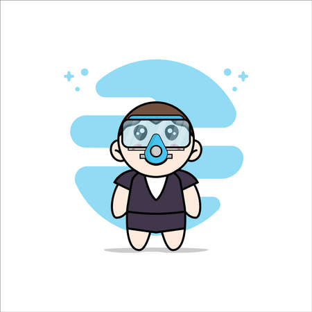 Cute business woman character wearing divers costume. Mascot design concept