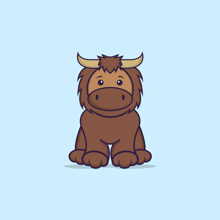 Cute bull is sitting. Animal cartoon concept isolated. Can used for t-shirt, greeting card, invitation card or mascot.