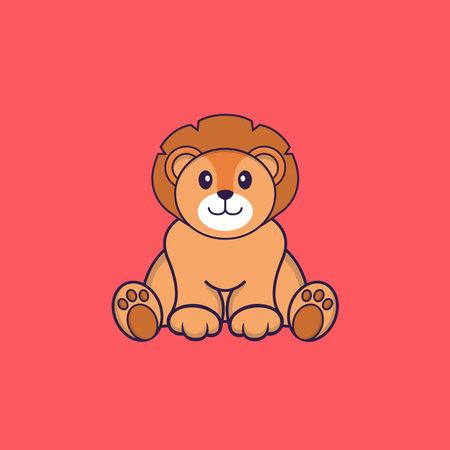 Cute lion is sitting. Animal cartoon concept isolated. Can used for t-shirt, greeting card, invitation card or mascot. Vektoros illusztráció