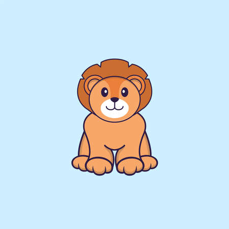 Cute lion is sitting. Animal cartoon concept isolated. Can used for t-shirt, greeting card, invitation card or mascot.