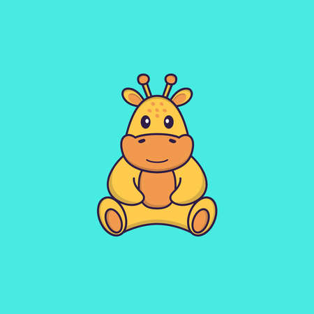 Cute giraffe is sitting. Animal cartoon concept isolated. Can used for t-shirt, greeting card, invitation card or mascot.