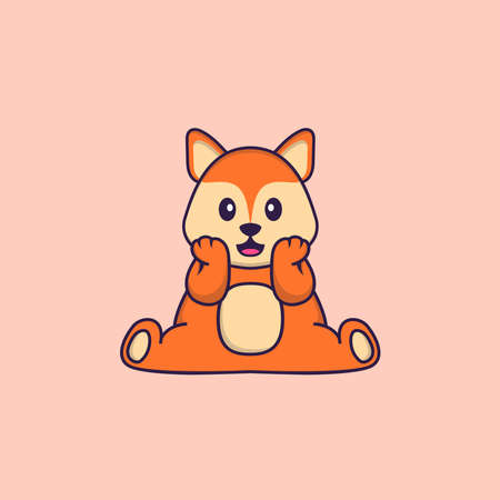 Cute fox is sitting. Animal cartoon concept isolated. Can used for t-shirt, greeting card, invitation card or mascot.