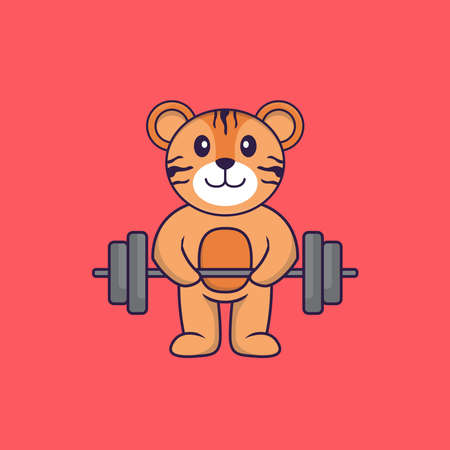 Cute tiger lifts the barbell. Animal cartoon concept isolated. Can used for t-shirt, greeting card, invitation card or mascot.