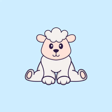 Cute sheep is sitting. Animal cartoon concept isolated. Can used for t-shirt, greeting card, invitation card or mascot.