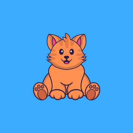 Cute cat is sitting. Animal cartoon concept isolated. Can used for t-shirt, greeting card, invitation card or mascot.
