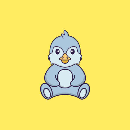 Cute bird is sitting. Animal cartoon concept isolated. Can used for t-shirt, greeting card, invitation card or mascot.