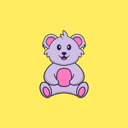 Cute koala is sitting. Animal cartoon concept isolated. Can used for t-shirt, greeting card, invitation card or mascot. Vektoros illusztráció