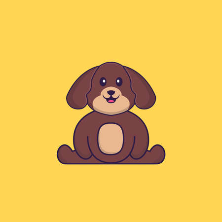 Cute dog is sitting. Animal cartoon concept isolated. Can used for t-shirt, greeting card, invitation card or mascot.