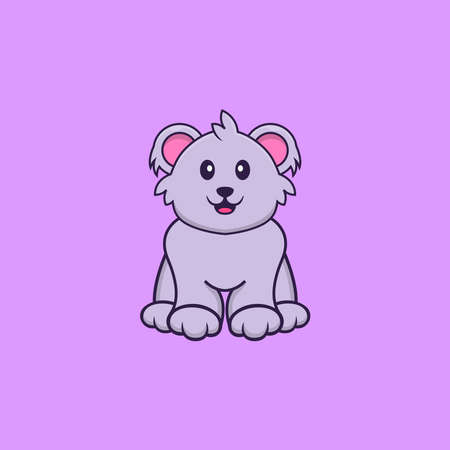 Cute koala is sitting. Animal cartoon concept isolated. Can used for t-shirt, greeting card, invitation card or mascot.