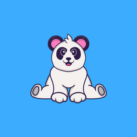 Cute Panda is sitting. Animal cartoon concept isolated. Can used for t-shirt, greeting card, invitation card or mascot.