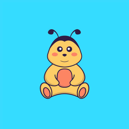 Cute bee is sitting. Animal cartoon concept isolated. Can used for t-shirt, greeting card, invitation card or mascot.