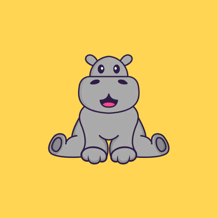 Cute hippopotamus is sitting. Animal cartoon concept isolated. Can used for t-shirt, greeting card, invitation card or mascot.