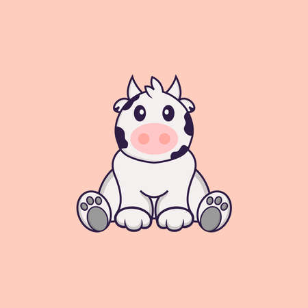 Cute cow is sitting. Animal cartoon concept isolated. Can used for t-shirt, greeting card, invitation card or mascot.