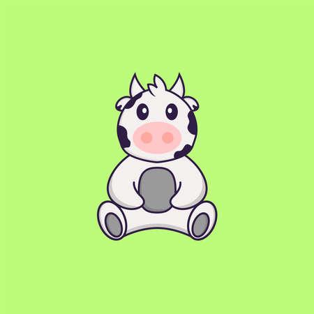 Cute cow is sitting. Animal cartoon concept isolated. Can used for t-shirt, greeting card, invitation card or mascot. Vektoros illusztráció