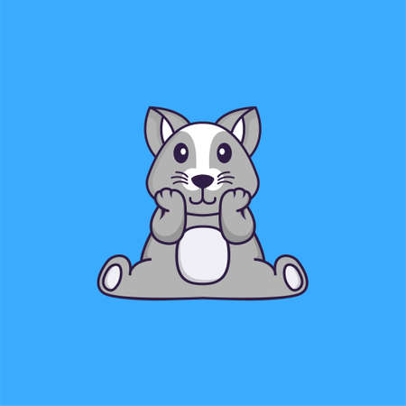 Cute rat is sitting. Animal cartoon concept isolated. Can used for t-shirt, greeting card, invitation card or mascot.