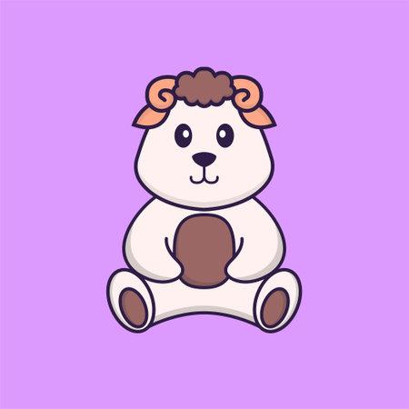 Cute sheep is sitting. Animal cartoon concept isolated. Can used for t-shirt, greeting card, invitation card or mascot. Vektoros illusztráció