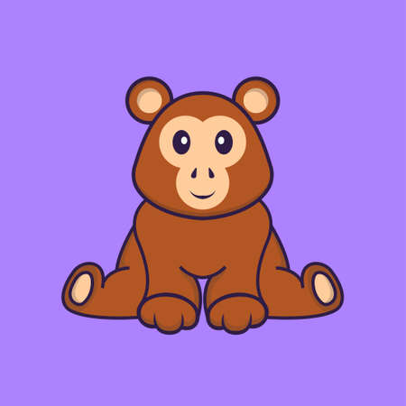 Cute monkey is sitting. Animal cartoon concept isolated. Can used for t-shirt, greeting card, invitation card or mascot.