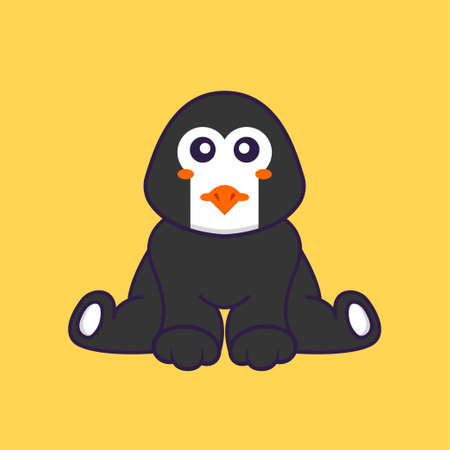 Cute penguin is sitting. Animal cartoon concept isolated. Can used for t-shirt, greeting card, invitation card or mascot.