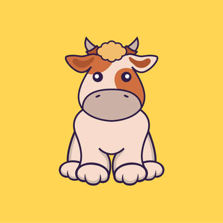 Cute cow is sitting.