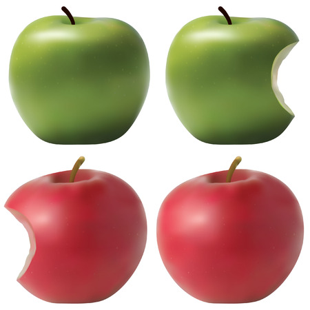 nibbled: Photo realistic apples set. Green and red. Bitten effect. Illustration