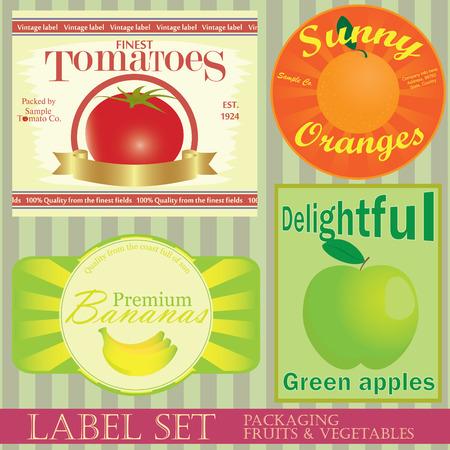 Label set: fruits and vegetables Vector