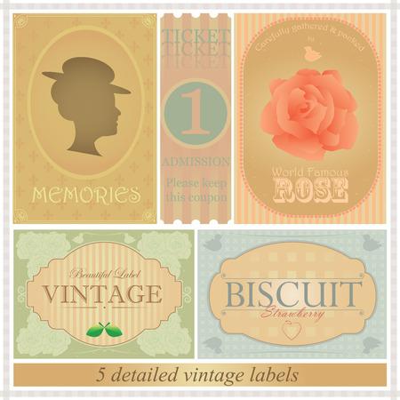 Detailed vintage label set Vector