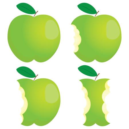 Manzana mordiscada verde. Diferentes estados