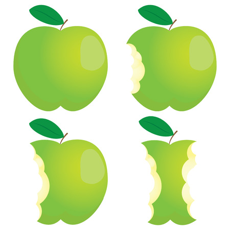 bite: Green nibbled apple. Different states.