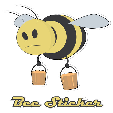 Bee with a buckets of honey. Sticker effect is easy removable. Vector