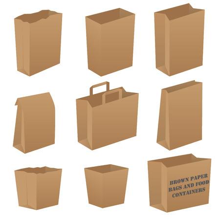 Brown paper bag set Illustration