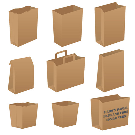 white paper bag: Conjunto de bolsas de papel marr�n Vectores